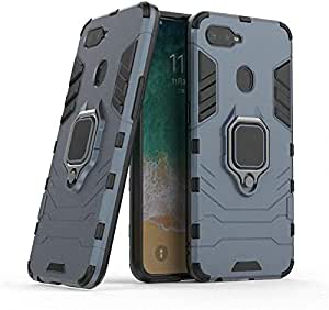 CompuMisr Iron Man cover Case For Oppo F9 With Metal Ring kickstand - Navy Blue