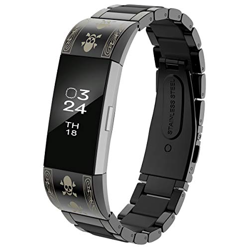 Black Pattern Skull - AIUNIT Replacement Bands Compatible for Fitbit Charge 2, Adjustable Metal Band Stainless Steel Wristband Large for HR2 Bracelet Strap W/Silicone Cover for Women Men-Black/Skull-Pattern