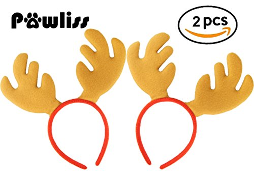 [Pawliss 2 Pack Reindeer Antler Plush Headband Cute Hair Accessory for Christmas Holiday Party] (Dog Ears Costumes)