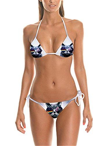 Allbebe Women's Cat Printed Halter Bandage Triangle String Bikini Set Swimsuit