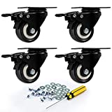 """2"""" Swivel Rubber Caster Wheels Set of 4 with Screw Safety Dual Locking and Polyurethane Foam No Noise Wheels,Heavy Duty - 150 Lbs Per Caster"""