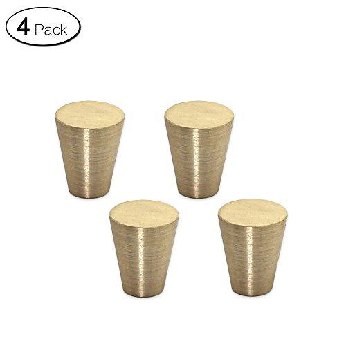 Zhi Jin 4Pcs Copper Solid Cabinet Knobs Handle Cone Shoe Book Drawer Knob Pack Set Brushed Gold by Zhi Jin