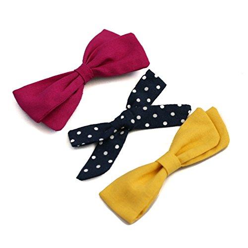 Clara Slip - Girls Hair Bows (3 pack) - Alligator Clip Hair Accessories - by Clara Josie (Yellow, Navy Polka Dot, Raspberry Pink)