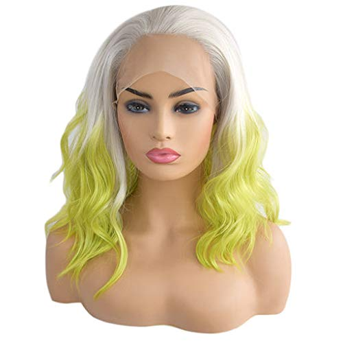 Mike Franklin's Fashion Wigs, Cosplay Gold Green Party Curly Synthetic Wig Lace Wigs Lace Front Net Hair Hair Extensions Romantic Large Space Glueless Wigs Daily Wig for Women