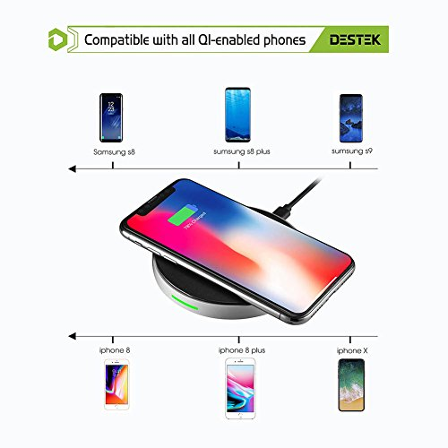DESTEK iPhone X Fast Wireless Charger – Quick Wireless Charging Pad for iPhone & Samsung (7.5W for iPhone X 8 8plus, 10W for S9+ S8 Note8), 5W for Others Qi-Enabled Smartphones (with 18W Adapter) by DESTEK (Image #1)