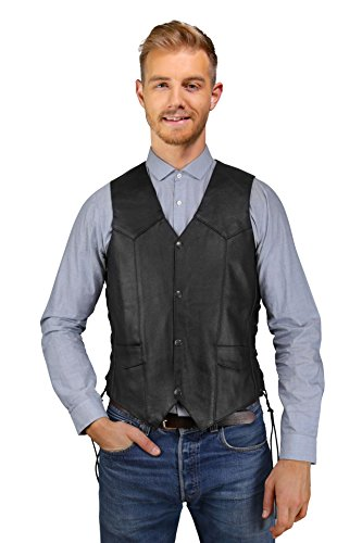 Mens Leather Vest w/Side Lace, Pockets inside & outside, High Performance Motorcycle Vest, Patches Friendly (Black, 54)