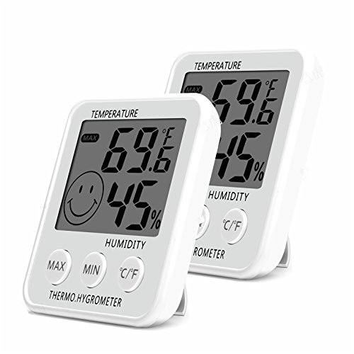 Digital Thermometer Indoor Hygrometer Humidity Meter Room Temperature Monitor Large LCD Display Max/Min Records for Home Car Office White by SoeKoa (2 Pack) by SoeKoa