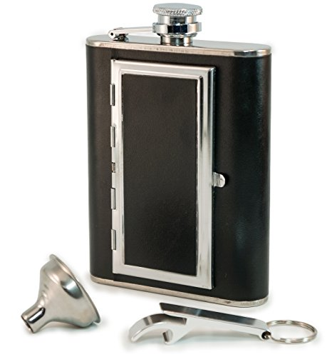 Flask Cigarette Holder - Perfect Pregame Flask - Cool 6 oz Stainless Steel and Leather Alcohol Flask with Compartment/Cigarette Case - For Men and Women - Drinking Flask for Liquor and Smokes