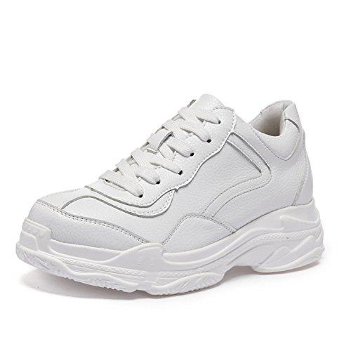 Shoes Fashion Kenavinca up Casual Shoes Spring Summer Platform Ladies Woman Lace Creepers 2018 Women Harajuku Flats Leather White White zvPnZWfz