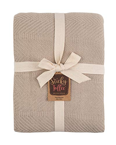 Sticky Toffee Woven Cotton Lightweight Twin Size Blanket | Warm and Soft Blanket for Layering on Bed | Tan | 80 in x 60 in