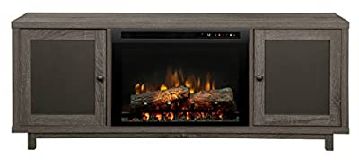 Dimplex Electric Fireplace, Media Console, TV Stand and Entertainment Center with Multiple Storage Cabinets, Natural Log Set and Reversible Shelves in Iron Mountain Grey Finish - Jesse #GDS26L8-1908IM