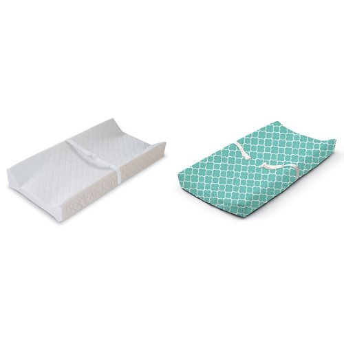 Summer Infant Contoured Changing Pad White with Changing Pad Cover Teal Medallion