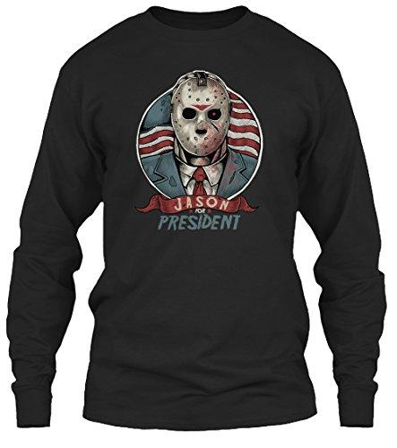 Teespring Unisex Jason For President Gildan 6.1oz Long Sleeved Shirt XX-Large Black (Jason Voorhees Clothes)