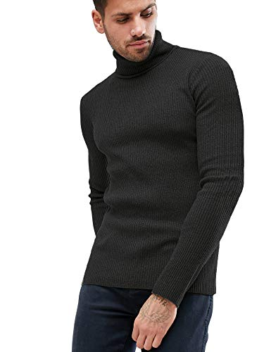 - Daupanzees Men's Knitted Ribbed Turtleneck Pullover Sweaters with Patchwork (Black XXL)