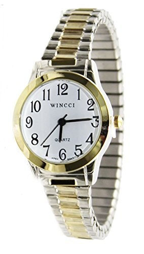 Women Two Tone Stretch Band Easy to Read Watch ()