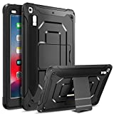 DONWELL Compatible iPad 5 iPad 6 Case 9.7 inch 2018/2017 Shockproof Defender Protective Cover with Pencil Holder and Kickstand Designed for iPad 5th 6th Generation Model A1823 A1822 A1893 (Black)