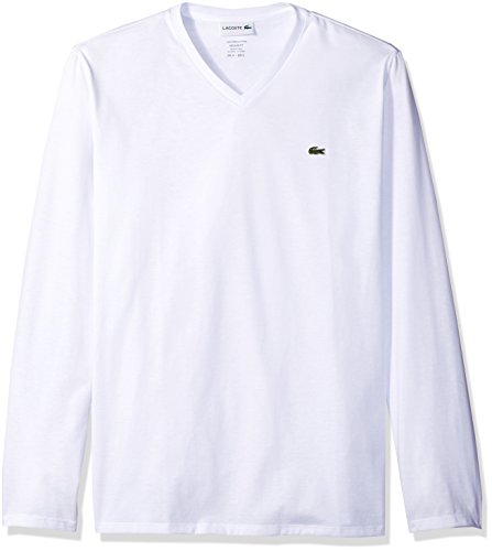 Lacoste Men's Long Sleeve Jersey Pima Reg Fit V Neck T-Shirt, White, Medium ()