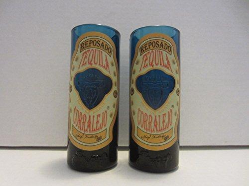 Set of 4 Corralejo Tequila Reposado Guanajuato Mexico Blue Glass Shooter Double Shot Glasses