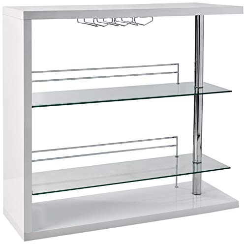 Rectangular 2-shelf Bar Unit with Wine Holder Glossy White, Chrome and Clear ()