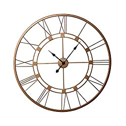 Decorlives 30 inch Copper Color Live Extra Large Roman Wall Clock Handmade Wall Sculpture Art