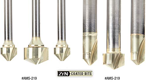 TCM, CCM, ACM 1//4 Inch SHK ZrN Coated Router Bit Pack Folding Double Edge for Composite Material Panels 108 and 135 Deg Amana Tool AMS-218 3-Pc Carbide V-Groove 90