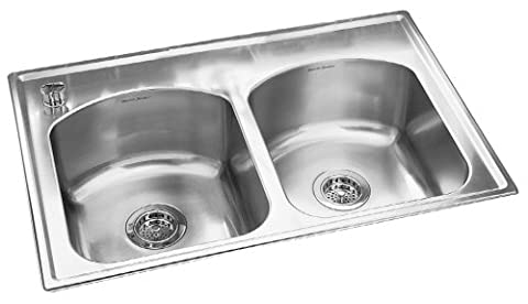 American Standard 7502.403.075 Culinaire 33-Inch self-rimming Four Holes with One accessory hole Double Bowl Kitchen Sink, Stainless - Culinaire+ Collection