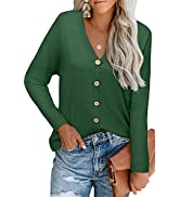 ULTRANICE Womens V Neck Long Sleeve Button Down Tunic Tops Basic Loose T Shirts Solid Casual Blouses