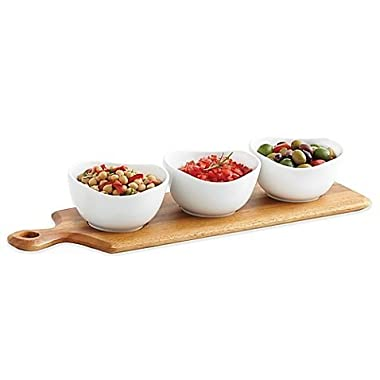 4-Piece Wooden Paddle Board and Ceramic Bowl Serving Set
