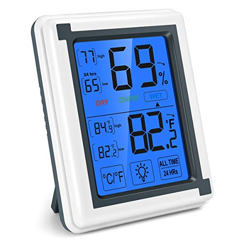 - AMIR Digital Hygrometer Indoor Thermometer, Accurate Temperature Humidity Monitor with Touch LCD Backlight, Humidity Gauge Meter for Home, Office, Greenhouse