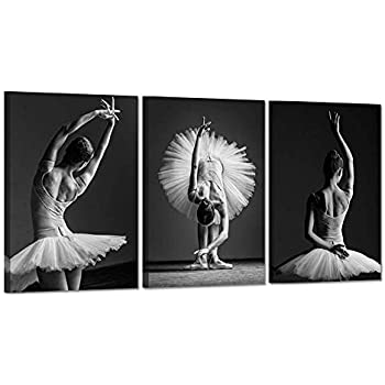 Hello Artwork Dancing Girls Modern Large Contemporary 3 Panels Beautiful Ballerina Dancers With White Tutu Stretched Gallery Canvas Wrap Giclee Print Modern Wall Decor Ready To Hang 16