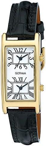 Gotham Men s Gold-Tone Dual Time Zone Leather Strap Watch GWC15090GW