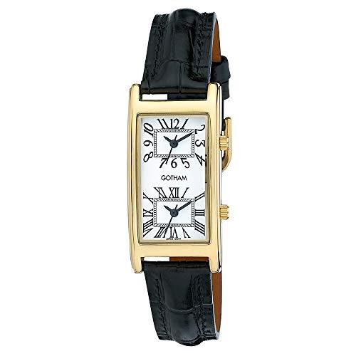 Gotham Men's Gold-Tone Dual Time Zone Leather Strap Watch # GWC15090GW