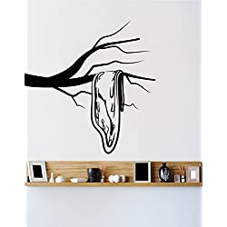 Stickerbrand Salvador Dali Famous Painting The Persistence of Memory Sad Clock Wall Decal Design. 36in Tall X 35in Wide (Black) OS_MB329s