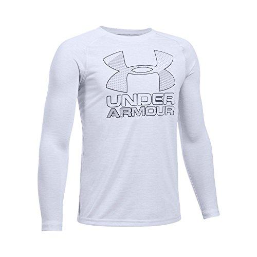 Under Armour Boys' Hybrid Big Logo Long Sleeve T-Shirt, White/Overcast Gray, Youth Large