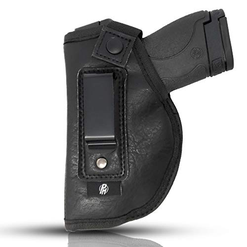 IWB Gun Holster by PH - Concealed Carry | Soft Interior | Fits M&P Shield 9mm.40.45 Auto/Glock 26 27 29 30 33 42 43, Ruger LC9, LC380 | Taurus Slim, PT111 | Springfield XD Series (Small) (Left)