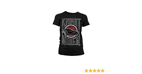 T-Shirt Officially Licensed Merchandise Knight Rider Sunset K.I.T.T Black