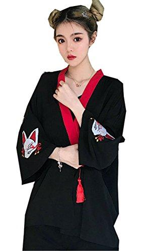 [イダク] レディース 七分袖 羽織 和風 漢服 刺繍 着物 カーディガン日系スタイル 日焼け止め服 大きいサイズ