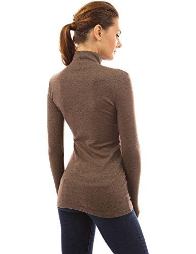 PattyBoutik Mujer encaje hasta la túnica de cuello alto brezo marrón