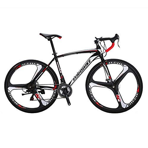 Eurobike Bikes EURXC550 21 Speed Road Bike 49 cm Frame 700C K Wheels Road Bicycle Dual Disc Brake Bicycles Blackwhite (Best Budget Carbon Road Bike)