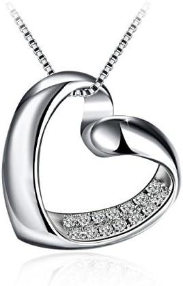5A Zirconium cubique Blanc Cha/îne 45+5CM J.Ros/ée Collier Bijoux Femme//Fille Argent 925 Cadeau Parfait