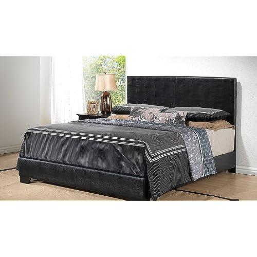 black king size modern headboard leather look upholstered platform bed - European Bed Frame