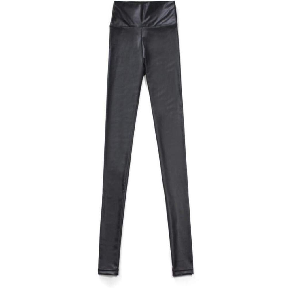 Ideal Gift Women's High Waist Trousers Slim Imitation Leather Leggings Pants (Color : Black, Size : XL) by Tuersuer (Image #5)