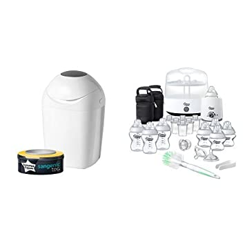 Tommee Tippee Sangenic Tec Nappy Disposal Tub with Complete Feeding Set Bundle, White/Blue