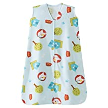 Halo Innovations Safe Dreams Wearable Blanket - Poly Knit. Dogs and Paws Print, Blue/ Red/ Green/ White, Medium