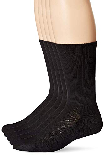Hanes Men's Crew Socks (12 Pairs: Sock:10-13 / Shoe:6-12, Black)
