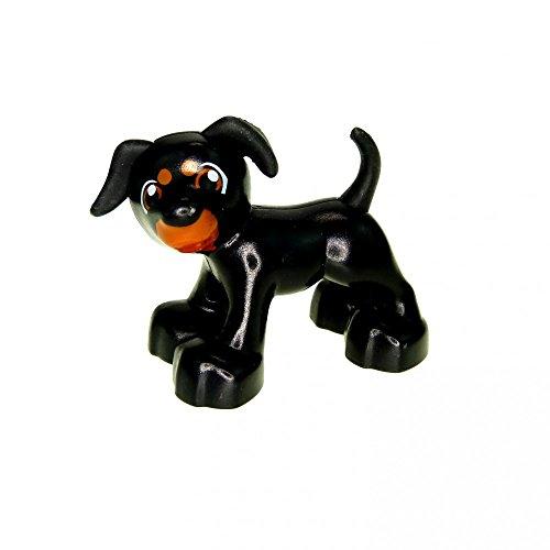 1 x Lego Duplo Tier Hund schwarz braun Bauernhof Zoo Zirkus neue Form 1396 pb02