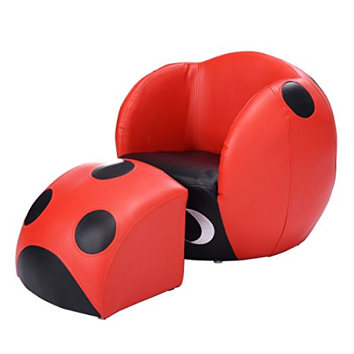 costzon kids sofa chair ottoman sets armchair with footstool for relaxing, insect shape red & black color