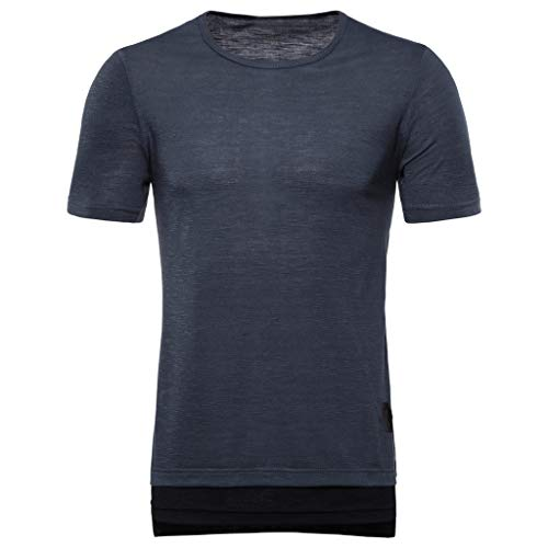 KINGOL Mens Fake Two Pieces Striped T-Shirt Splice Casual Lapel Sport Short Sleeve Shirt Gray]()