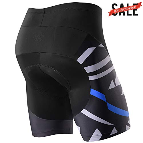 NOOYME Mens Bike Shorts with 3D Padded for Bicycle Cycling Americas Explores with Map Design Cycling Shorts (XL, Blue)