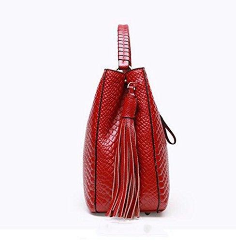 Bolsas Negro De De De Cocodrilo Mano Piel Superior Para rojo Bolso Asa De Mujer Bolsas De Hombro nzWWwaqUS
